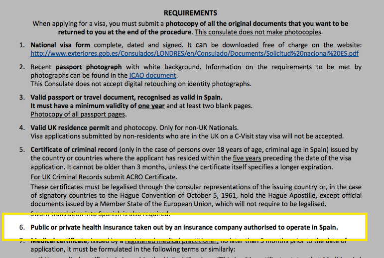 The Spanish Consulate of London provides very generalized health insurance guidance