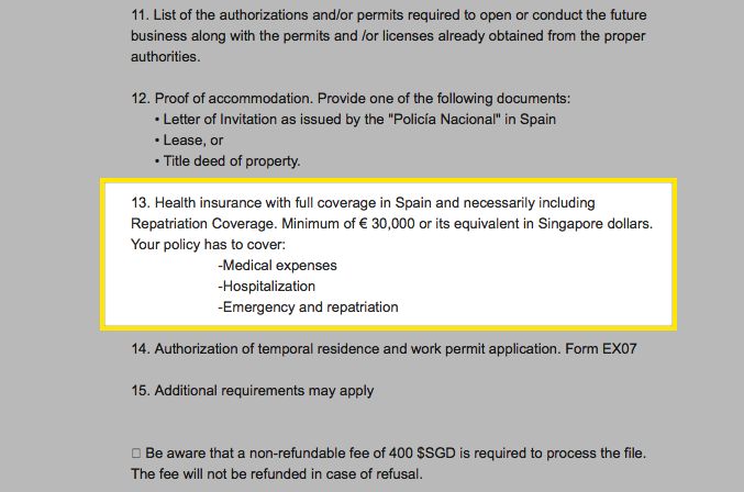 Spanish Consulate of Singapore requirements for health insurance